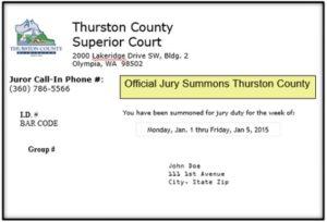 Jury Summons Postcard